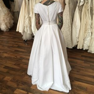 Full A-Line Wedding Dress, White w/ Beading